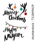 merry christmas and happy... | Shutterstock .eps vector #711849619