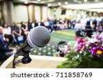 microphone soft focus on blur... | Shutterstock . vector #711858769