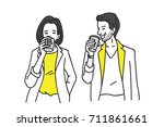 businessman and businesswoman... | Shutterstock .eps vector #711861661