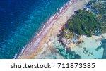 aerial photo of glover's reef... | Shutterstock . vector #711873385