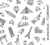 popular travel landmarks... | Shutterstock .eps vector #711880447