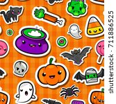 halloween seamless pattern in... | Shutterstock .eps vector #711886525