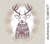 reindeer  autumn | Shutterstock .eps vector #711887677