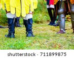 medieval armor shoes on meadon. ... | Shutterstock . vector #711899875