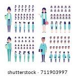 team of medical workers... | Shutterstock .eps vector #711903997