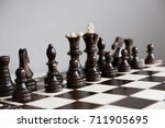 playing wooden chess pieces....   Shutterstock . vector #711905695