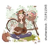 young woman with guitar and... | Shutterstock .eps vector #711911545