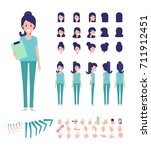 front  side  back view animated ... | Shutterstock .eps vector #711912451