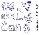 isolate dark purple ink vector... | Shutterstock .eps vector #711912619