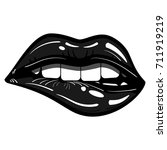 sexy black lips passionate... | Shutterstock .eps vector #711919219