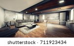 modern interior design. wood... | Shutterstock . vector #711923434