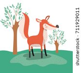 fox animal caricature in forest ... | Shutterstock .eps vector #711929011