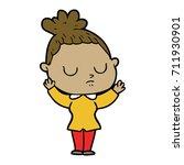 cartoon calm woman   Shutterstock .eps vector #711930901