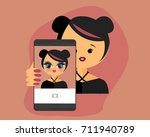 girl taking photo with big eyes ... | Shutterstock .eps vector #711940789