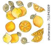 colorful lemons set. elements... | Shutterstock . vector #711943009