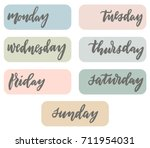 weekdays planner bujo stickers. ... | Shutterstock .eps vector #711954031