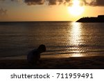 child silhouette on sunset... | Shutterstock . vector #711959491