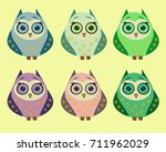 a set of six cute owls with