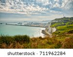 View of the English channel as seen from above the White cliffs of Dover. The port is the Port of Dover.
