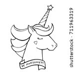 unicorn. text be awesome.... | Shutterstock .eps vector #711963319
