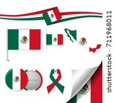 flag with elements mexico | Shutterstock .eps vector #711968011
