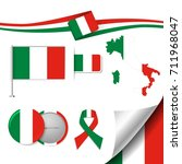 flag with elements italy | Shutterstock .eps vector #711968047