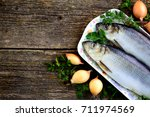 delicious salted herring with... | Shutterstock . vector #711974569