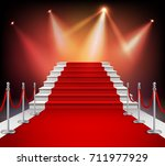 white stairs covered with red