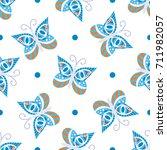 seamless tiling blue  white ... | Shutterstock .eps vector #711982057