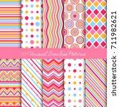 ten seamless geometric patterns ... | Shutterstock .eps vector #711982621