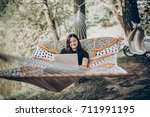 stylish hipster freelancer with ... | Shutterstock . vector #711991195