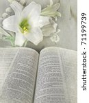 Easter Lily And Bible With...