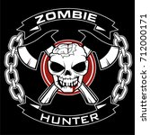 zombie hunter logo vector | Shutterstock .eps vector #712000171