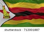 national flag of the zimbabwe... | Shutterstock . vector #712001887
