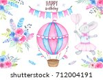 watercolor happy birthday party ... | Shutterstock . vector #712004191