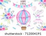 watercolor happy birthday party ... | Shutterstock . vector #712004191