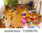 scattered toys and building kit ... | Shutterstock . vector #712006741