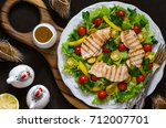 salad with tomatoes sweet... | Shutterstock . vector #712007701