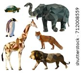 Vector set of different animals, polygonal icons, low poly illustration, fox, lion, elephant, giraffe, turtle, penguin | Shutterstock vector #712008559