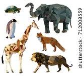 vector set of different animals ... | Shutterstock .eps vector #712008559