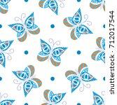 seamless tiling blue  white ... | Shutterstock . vector #712017544