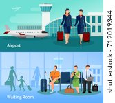 airport flat compositions with... | Shutterstock . vector #712019344