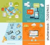 telecommunication 2x2 design... | Shutterstock . vector #712019611