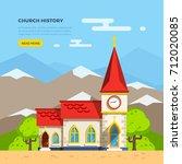 beautiful historic church... | Shutterstock . vector #712020085