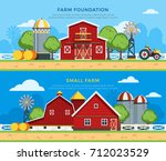 two farm flat horizontal... | Shutterstock . vector #712023529