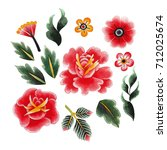 watercolor floral collection... | Shutterstock . vector #712025674