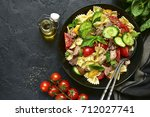 tuna salad with pasta and... | Shutterstock . vector #712027741