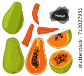 hand drawn sketch papaya set on ... | Shutterstock .eps vector #712027951