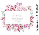 floral rectangular frame.... | Shutterstock . vector #712032019
