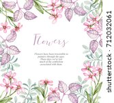 watercolor flowers and leaves.... | Shutterstock . vector #712032061